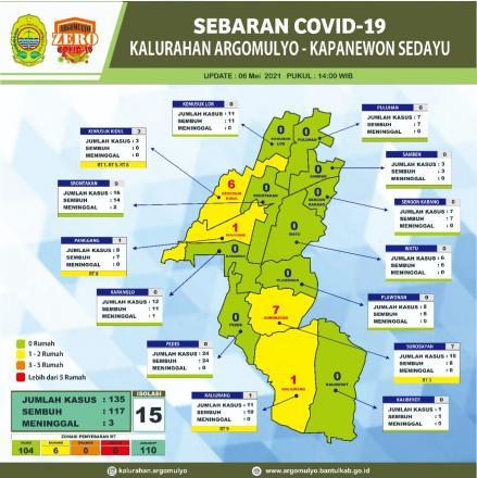 Sebaran Peta Covid-19 Kalurahan Argomulyo 06 Mei 2021